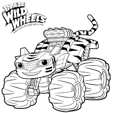 stripes in tiger costume from blaze monster truck coloring pages