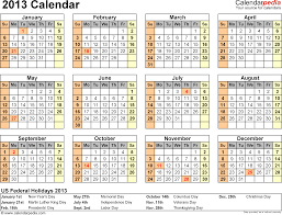 2013 calendar with federal holidays excel pdf word templates