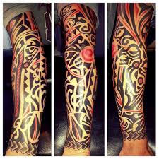 arm tattoo tribal black and red tribal sleeve tattoo black and white tattoos by me