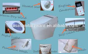 Heated Toilet Seat Bidet Remote Control Automatic Self Cleaning Soft Close Heated Ceramic