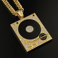 gold big pendant necklace images Dj phonograph big pendant necklace men jewelry hiphop chain gold jpg
