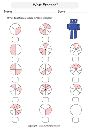 what fraction in each shape is shaded great math class 2 fraction