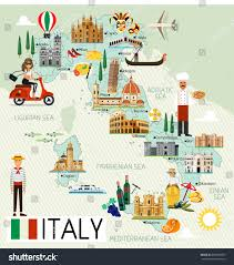Map Of Florence Italy Map Italy Travel Iconsitaly Travel Map Stock Vector 669558055