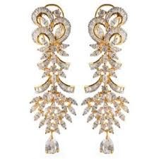 heavy diamond earrings heavy american diamonds earrings buy heavy american diamonds