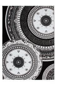 Tapis Salon Noir Et Blanc by Tapis Floral Noir Et Gris Pour Salon Au Velours Brillant Tapis