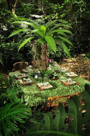 tropical rainforest native plants wedding reception ideas table decorations eco green wedding