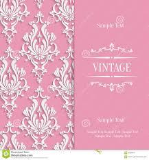 Floral Invitation Card Designs Vector Pink 3d Vintage Invitation Card Template With Floral Damask
