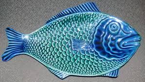 ceramic fish platter pottery blue green fish platter the ebay community