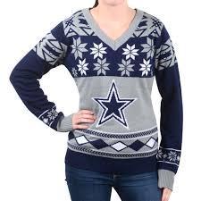 dallas cowboys big logo women u0027s v neck nfl ugly sweater