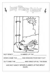 english teaching worksheets incy wincy spider