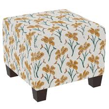Floral Ottoman Vanves Floral Ochre Teal Square Ottoman 57 2vnvflrochtl The Home