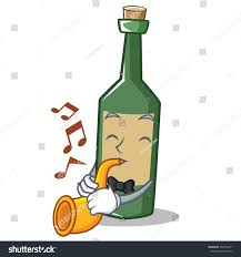cartoon beer bottle trumpet wine bottle character cartoon stock vector 760754071
