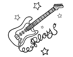 guitar coloring pages to print guitar and stars coloring page coloringcrew com