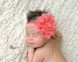 flower headbands baby headband newborn headband coral lace flower headband