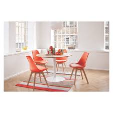 lance dining set with oak table and 4 jerry orange chairs buy