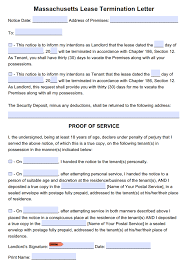 Sample Letter For Lease Termination Free Massachusetts 30 Day Lease Termination Letter Tenancy At