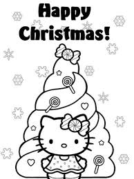 Happy Christmas Hello Kitty Coloring Pages Christmas Tree Hello Tree Coloring Page