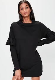 v neck long sleeve heavy rib jumper dress missguided australia
