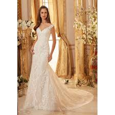 fitted wedding dresses mori 5471 wedding dress illusion v neck fitted