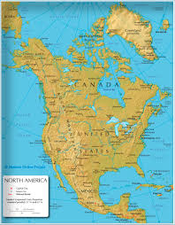Central America Physical Map by The Map Shows The States Of North America Canada Usa And Mexico