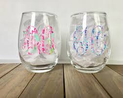 monogram wine glass etsy