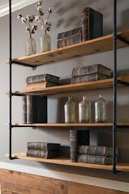 decor wall metal and bookcase for modern book storage idea