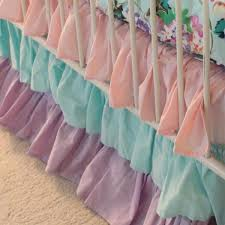 Purple And Teal Crib Bedding Cordelia S Baby Bedding Crib Skirt Floral Pastel Pink Blue