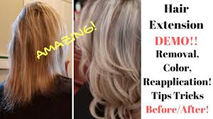 Color Hair Extension by Hair Extension Demo On Thin Hair Removal Color And Reapplication