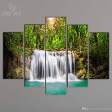 Wall Paintings For Home Decoration 2017 Wholesale Cheap Canvas Art Print Waterfall Modular Pictures