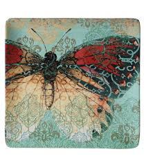 butterfly platter susan winget square ceramic platter boho butterfly 12 5 x 12 5 joann