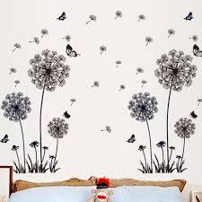 60 90cm butterfly flying in dandelion wall stickers bedroom living