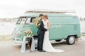 pink volkswagen van coastal wedding inspiration with a vintage vw bus green wedding