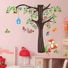 2 sizes large cute monkeys playing on tree animal wall stickers