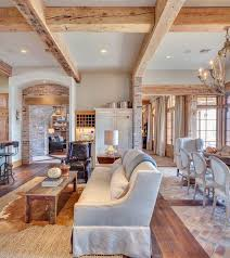 hewn scraped wooden beams create coffered ceiling