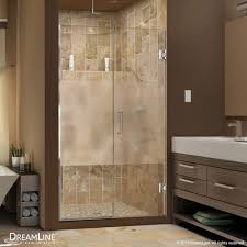 Clear Glass Shower Door by Unidoor Plus Half Frosted Glass Shower Door