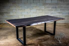 live edge grey stained maple dining table black walnut maple
