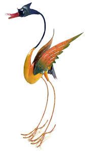 metal sculpture home or garden ornament colourful barmy bird