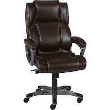 Real Leather Office Chair Staples Washburn Bonded Leather Office Chair Brown Staples