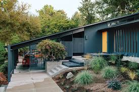 oh this house dark and moody and that door midcentury house in