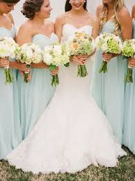 Mint Green Wedding Mint Green Bridesmaid Dresses And White Wedding Bouquets Deer