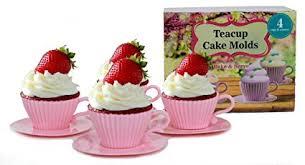 amazon com handy helpers bulk buys teacup cake molds 4 pack