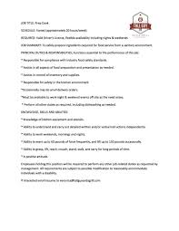 Food Service Job Description Resume by Porter Job Description Best 25 Job Description Ideas On