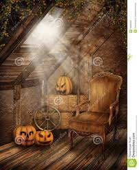 attic room with halloween decorations stock photography image