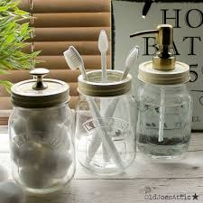 kilner mason jar country style bathroom accessory set with antique