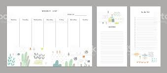 weekly planner template organizer and schedule stock vector art