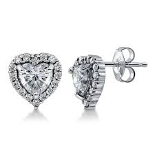 cubic zirconia earrings sterling silver heart shaped cubic zirconia cz heart halo stud