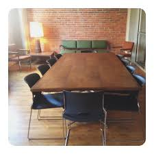Cool Meeting Table Rustic Brown Mahogany Conference Desk Combined Exposed Red Bricks