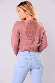 cropped sweater mauve