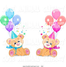 vector clip art of a cute male and female twin birthday bears