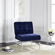 Navy Accent Chair Navy Accent Chairs New Safavieh Modern Ansel Blue Velvet Tufted